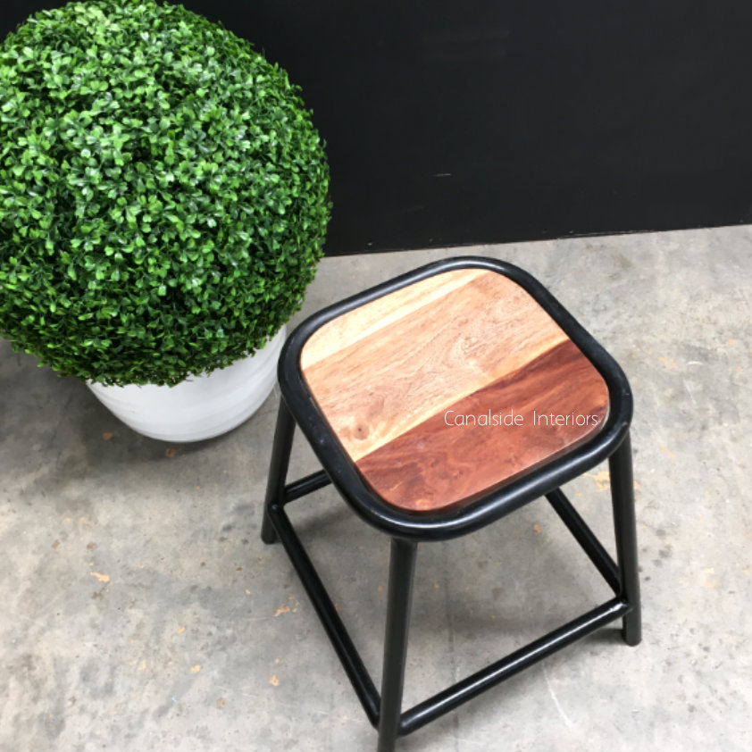 Axis Industrial Low Stool Distressed Black INDUSTRIAL RUSTIC Style, CHAIRS, CAFE FURNITURE, CHAIRS Stools, CAFE FURNITURE Stools & Chairs