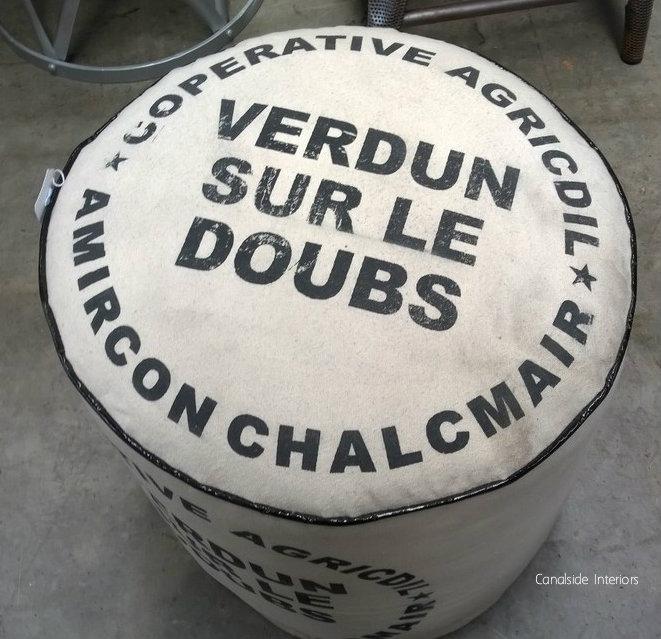 Zoe Cream Ottoman - Verdun Print
