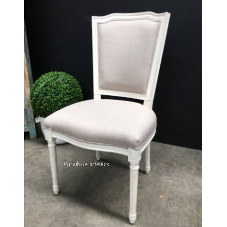 Stark Dining Chair Distressed White with cream upholstery  FRENCH  FURNITURE, CHAIRS, HAMPTONS Style, PLANTATION Style, CHAIRS Dining