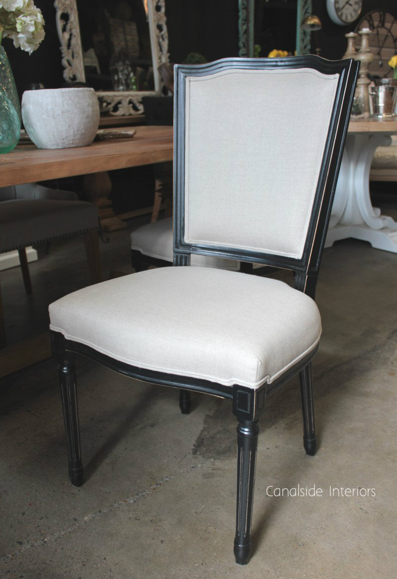 Stark Dining Chair Distressed Black with cream upholstery  FRENCH  FURNITURE, CHAIRS, HAMPTONS Style, PLANTATION Style, CHAIRS Dining
