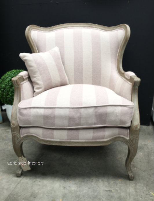 Cercei Hamptons Armchair Weathered Oak cream striped upholstery