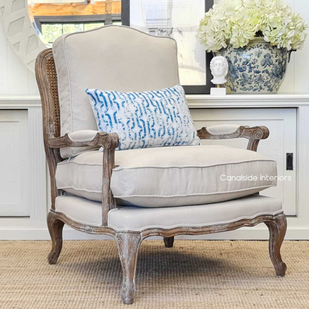 Clarke Armchair Weathered Oak with Rattan Back and cream upholstery  FRENCH  FURNITURE, CHAIRS, HAMPTONS Style, PLANTATION Style, CHAIRS Lounge, LIVING Room, LIVING Chairs