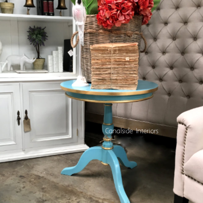 Candy Crushed Side Table Pastel Blue TABLES, TABLES Side Tables