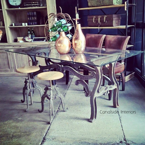 Hobbs Industrial Dining Table with Glass Top  INDUSTRIAL RUSTIC Style, CAFE FURNITURE, TABLES, TABLES Dining Tables, STORAGE Consoles & Desks, CAFE FURNITURE Table Tops & Tables