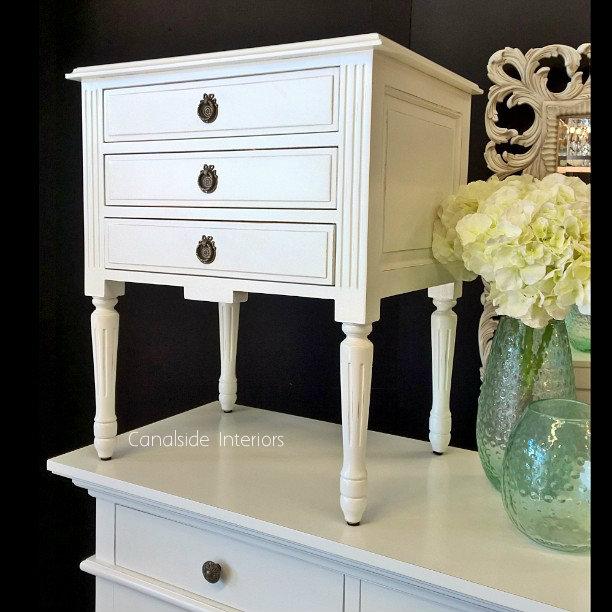 Elissa Bedside Distressed White  FRENCH  FURNITURE, BEDROOM, TABLES, HAMPTONS Style, PLANTATION Style, TABLES Side Tables, LIVING Coffee & Side Tables, BEDROOM Bedsides