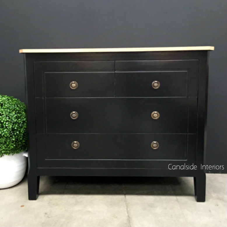 Beckett Chest of Drawers Distressed Black Limewash Top  BEDROOM, BEDROOM Chests & Commodes