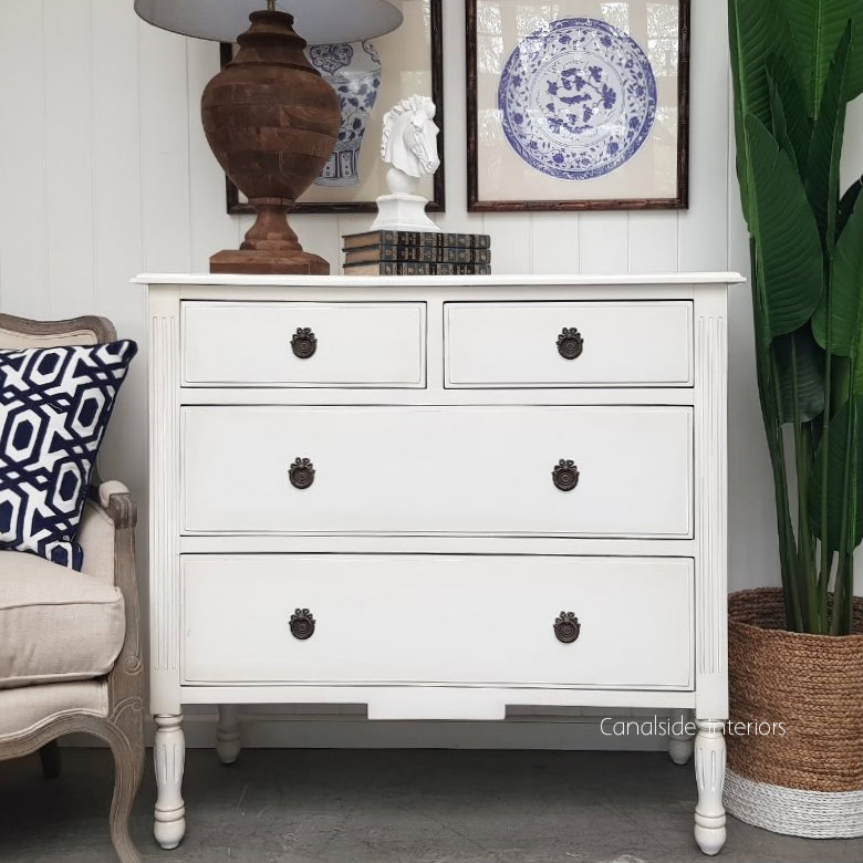 Elissa Chest of Drawers Distr. White  FRENCH  FURNITURE, BEDROOM, HAMPTONS Style, PLANTATION Style, BEDROOM Chests & Commodes, TABLES Sideboards & Buffets, STORAGE, STORAGE Sideboards & Buffets