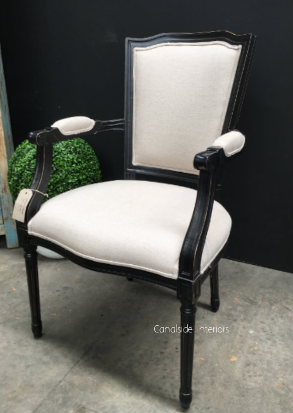 Stark Carver Chair Distressed Black with cream upholstery  FRENCH  FURNITURE, CHAIRS, HAMPTONS Style, PLANTATION Style, CHAIRS Dining, CHAIRS Lounge, LIVING Room, LIVING Chairs