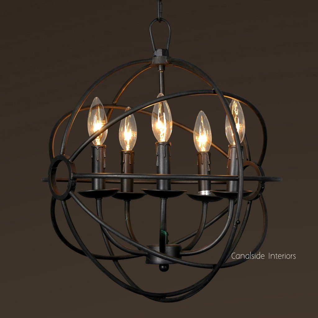 Foucault Single Orb Chandelier in distressed silver/charcoal