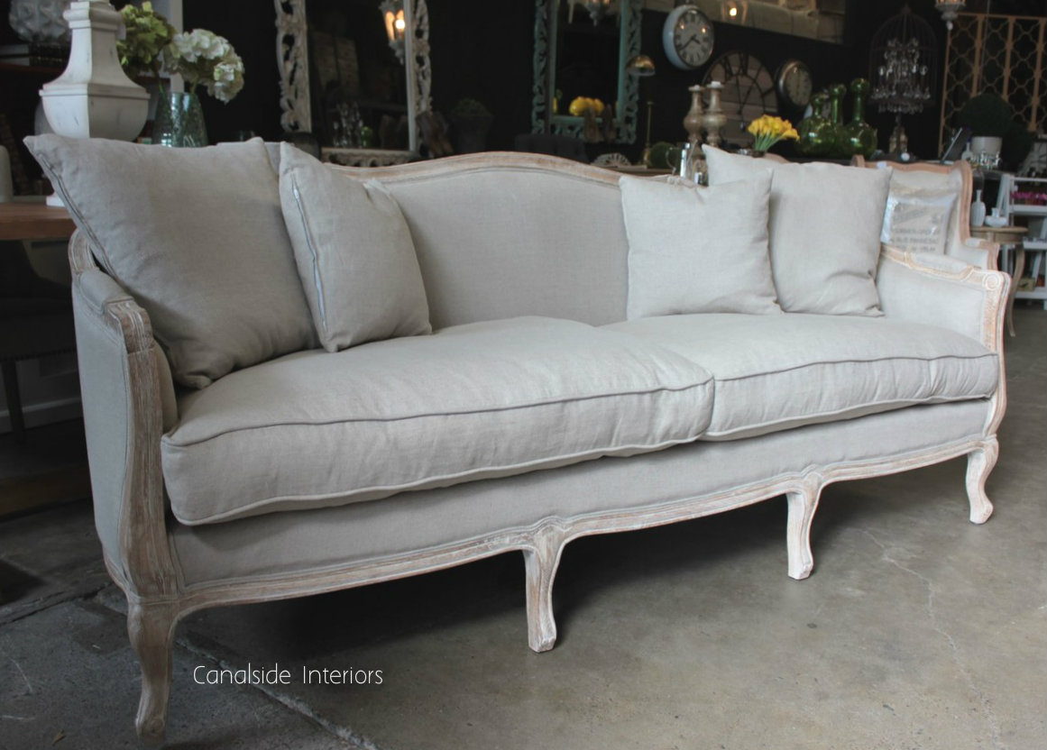 Arya Canape 3.5 Seater Sofa Weathered Oak with cream upholstery Arriving Soon FRENCH  FURNITURE, CHAIRS, HAMPTONS Style, PLANTATION Style, CHAIRS Lounge, LIVING Room, LIVING Chairs