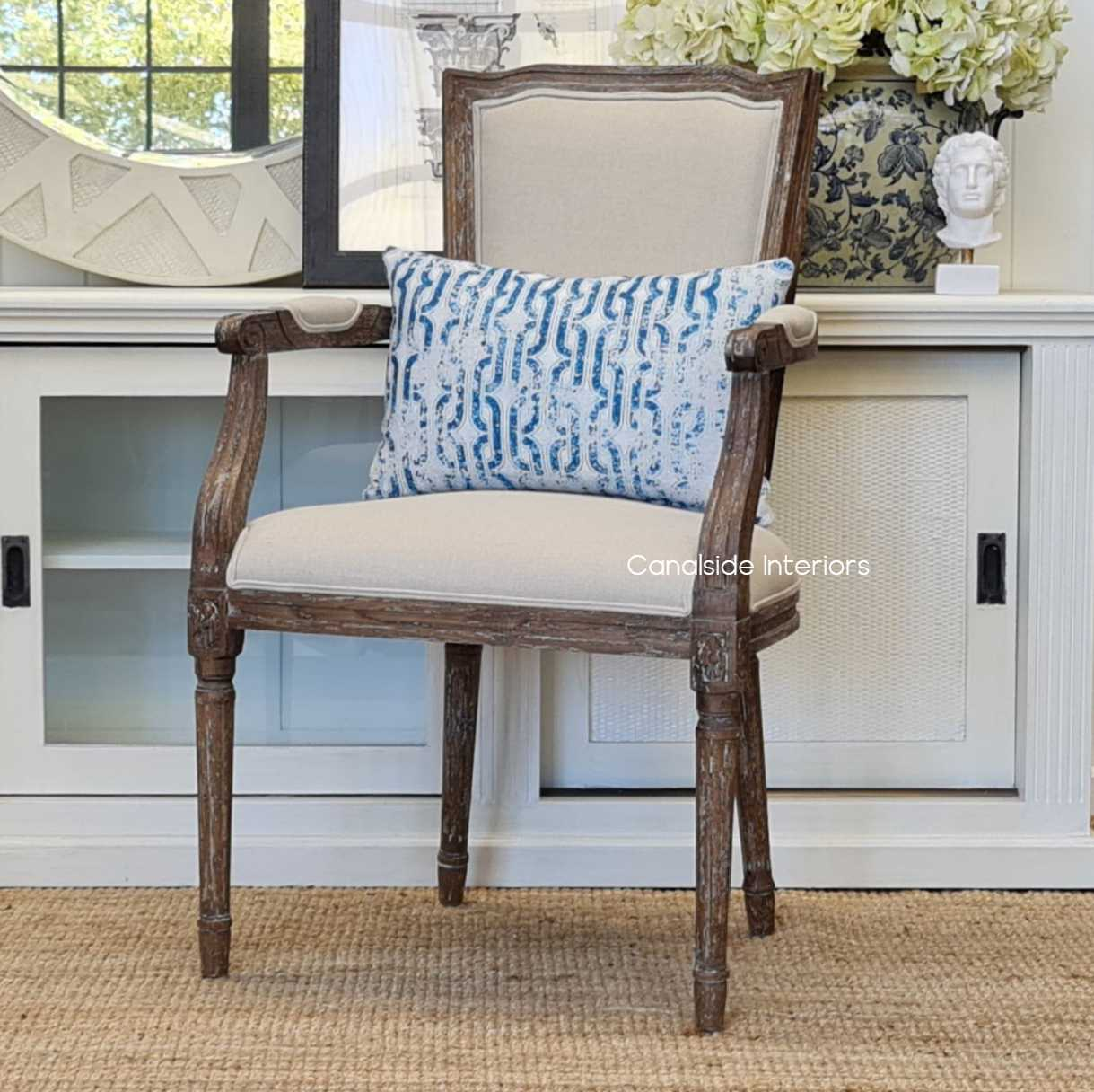 Stark Carver Chair Weathered Oak with cream upholstery  FRENCH  FURNITURE, CHAIRS, HAMPTONS Style, PLANTATION Style, CHAIRS Dining, CHAIRS Lounge, LIVING Room, LIVING Chairs