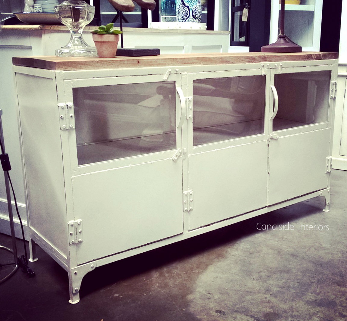 Foundry 3 Door TV Sideboard with Wooden Top Distressed White  INDUSTRIAL RUSTIC Style, CAFE FURNITURE, LIVING Room, LIVING TV Media & Storage, CAFE FURNITURE Storage, TABLES Sideboards & Buffets, STORAGE, STORAGE Sideboards & Buffets