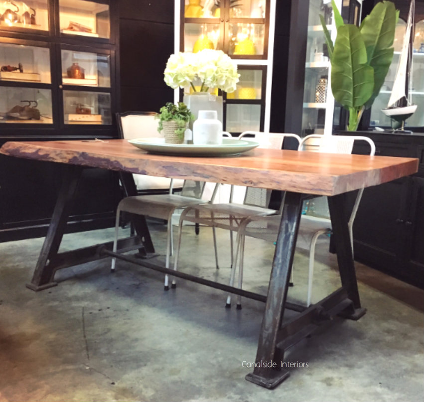 Protractor Industrial Dining Table with Reclaimed Wood Top