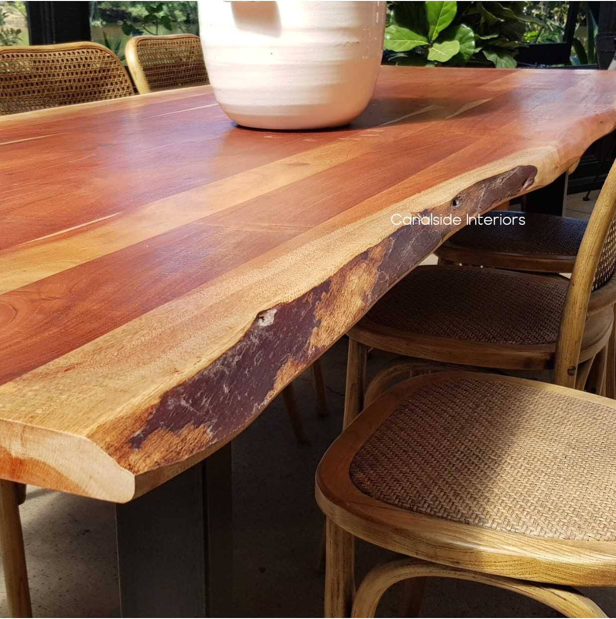 Picture of: Protractor Industrial Dining Table With Live Edge Wood Top 250cm In Stock Canalside Interiors