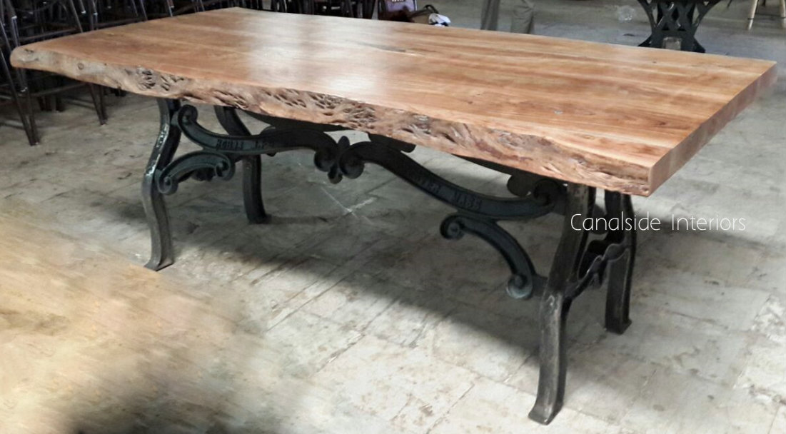 Picture of: Hobbs Industrial Dining Table With Live Edge Wood Slab Top Sold Out Canalside Interiors