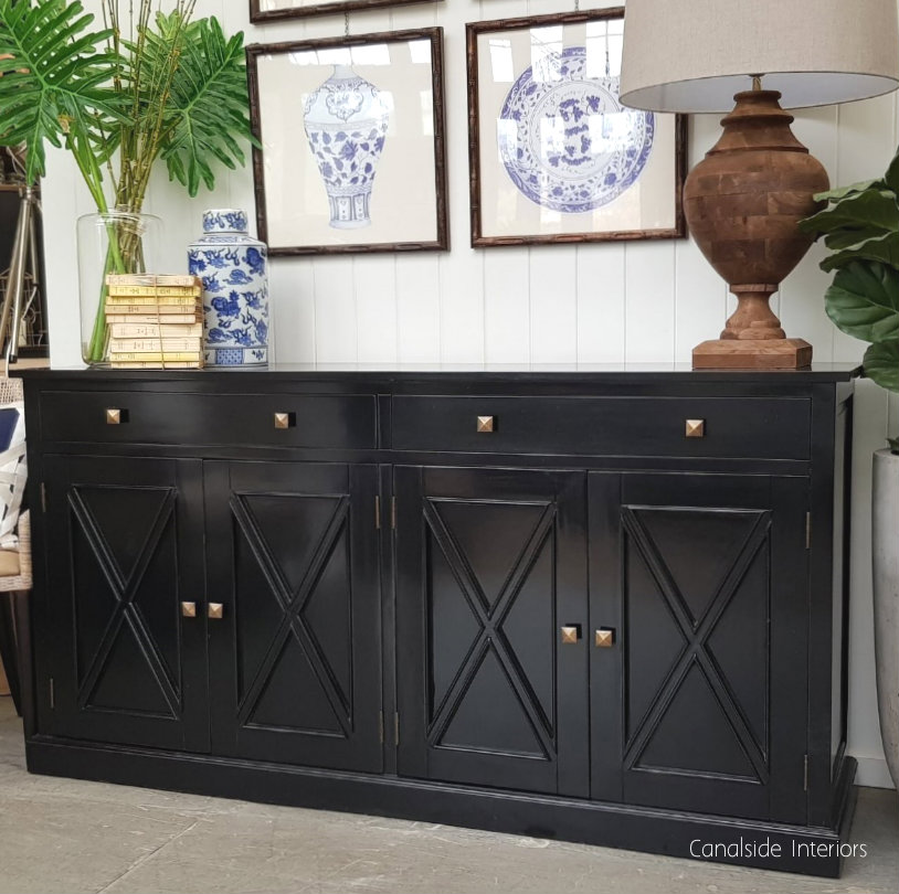 South Hamptons 4 Door Buffet Black  HAMPTONS Style, PLANTATION Style, LIVING Room, LIVING TV Media & Storage, TABLES Sideboards & Buffets, STORAGE, STORAGE Sideboards & Buffets