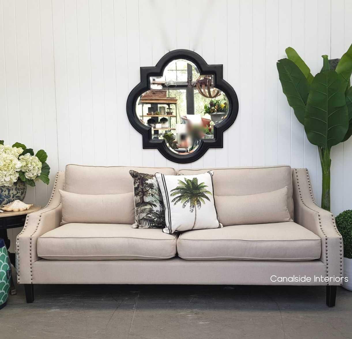 Cadence Mirror Distressed Black 100cm  HAMPTONS Style, PLANTATION Style, MIRRORS