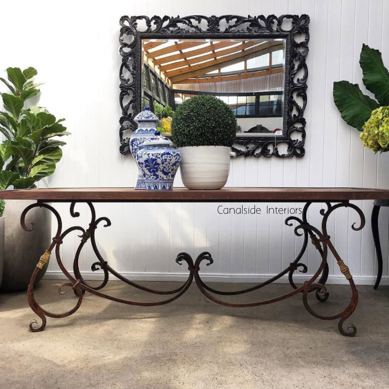 Peralta Industrial Provincial Dining Table Canalside Interiors