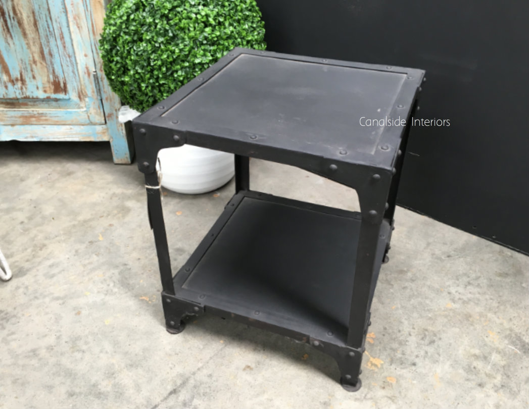 Foundry Industrial Side Table Medium 2 Tier  INDUSTRIAL RUSTIC Style, CAFE FURNITURE, TABLES, TABLES Side Tables, LIVING Room, LIVING Coffee & Side Tables, CAFE FURNITURE Table Tops & Tables, CAFE FURNITURE Stools & Chairs
