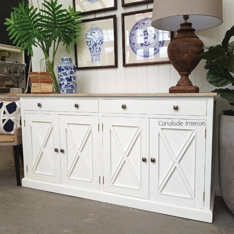 South Hamptons 4 Door Buffet White with Limewash Top  HAMPTONS Style, PLANTATION Style, LIVING Room, LIVING TV Media & Storage, TABLES Sideboards & Buffets, STORAGE, STORAGE Sideboards & Buffets