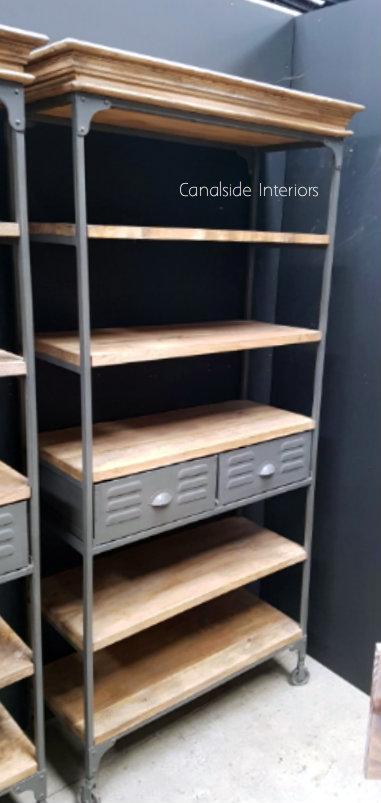 Ragnar 2 Drawer Display Unit Bookshelf  INDUSTRIAL RUSTIC Style, CAFE FURNITURE, LIVING Room, LIVING Cupboards & Bookcases, CAFE FURNITURE Storage, STORAGE, STORAGE Bookshelves & Cupboards