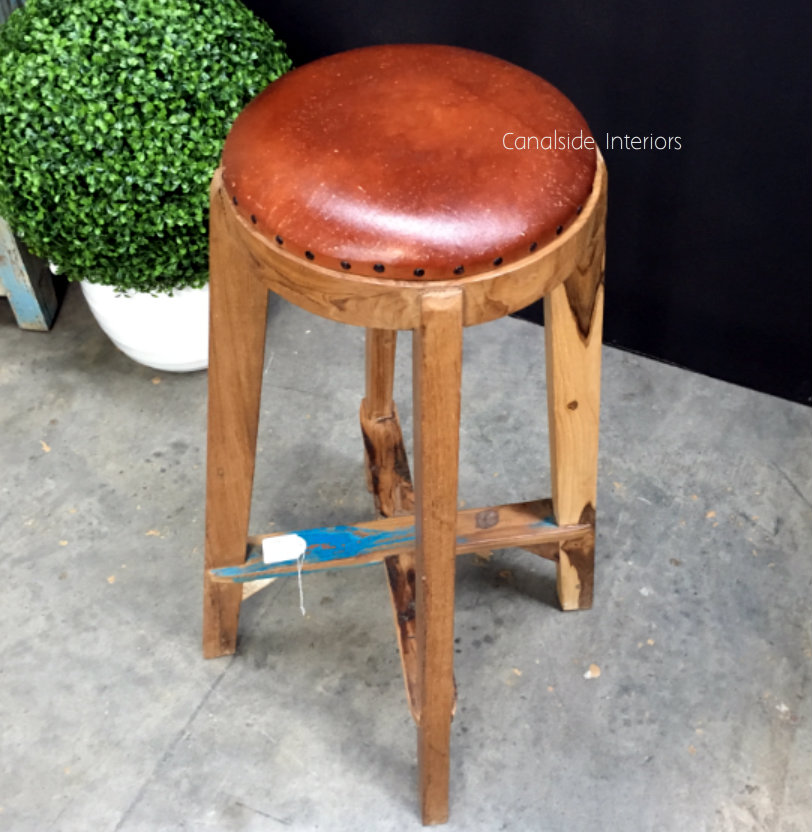 Bjorn Rustic Stool with Leather  INDUSTRIAL RUSTIC Style, CHAIRS, CAFE FURNITURE, CHAIRS Stools, CAFE FURNITURE Stools & Chairs