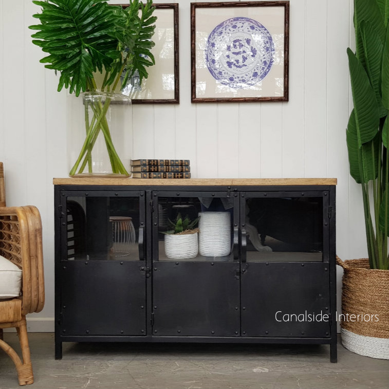 Foundry 3 Door Industrial Tv Sideboard With Glass Doors And Wooden Top Distressed Charcoal Sold Out More Coming Soon