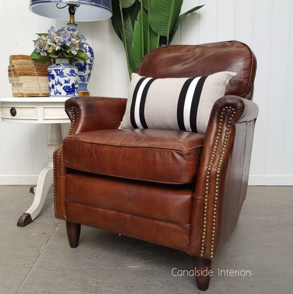 Kennedy Aged Leather Armchair TV, Lounge & Entertainment, CHAIRS, AGED LEATHER, CHAIRS Lounge, LIVING Room, LIVING Chairs