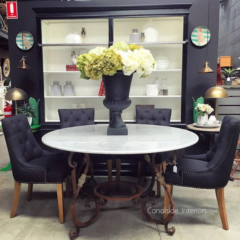 Santiago Round Dining Table with Carrera Marble Top