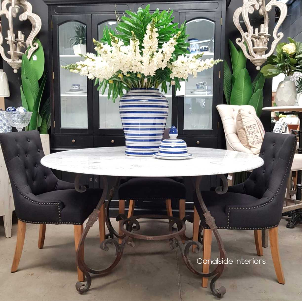 Picture of: Santiago Round Dining Table Carrara Marble Top 140cm Canalside