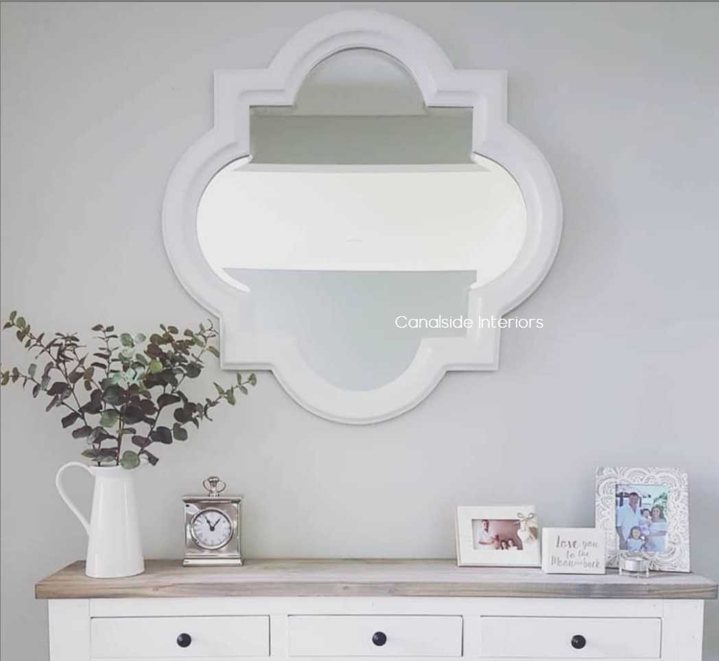 Cadence Mirror Distressed White 80cm MIRRORS