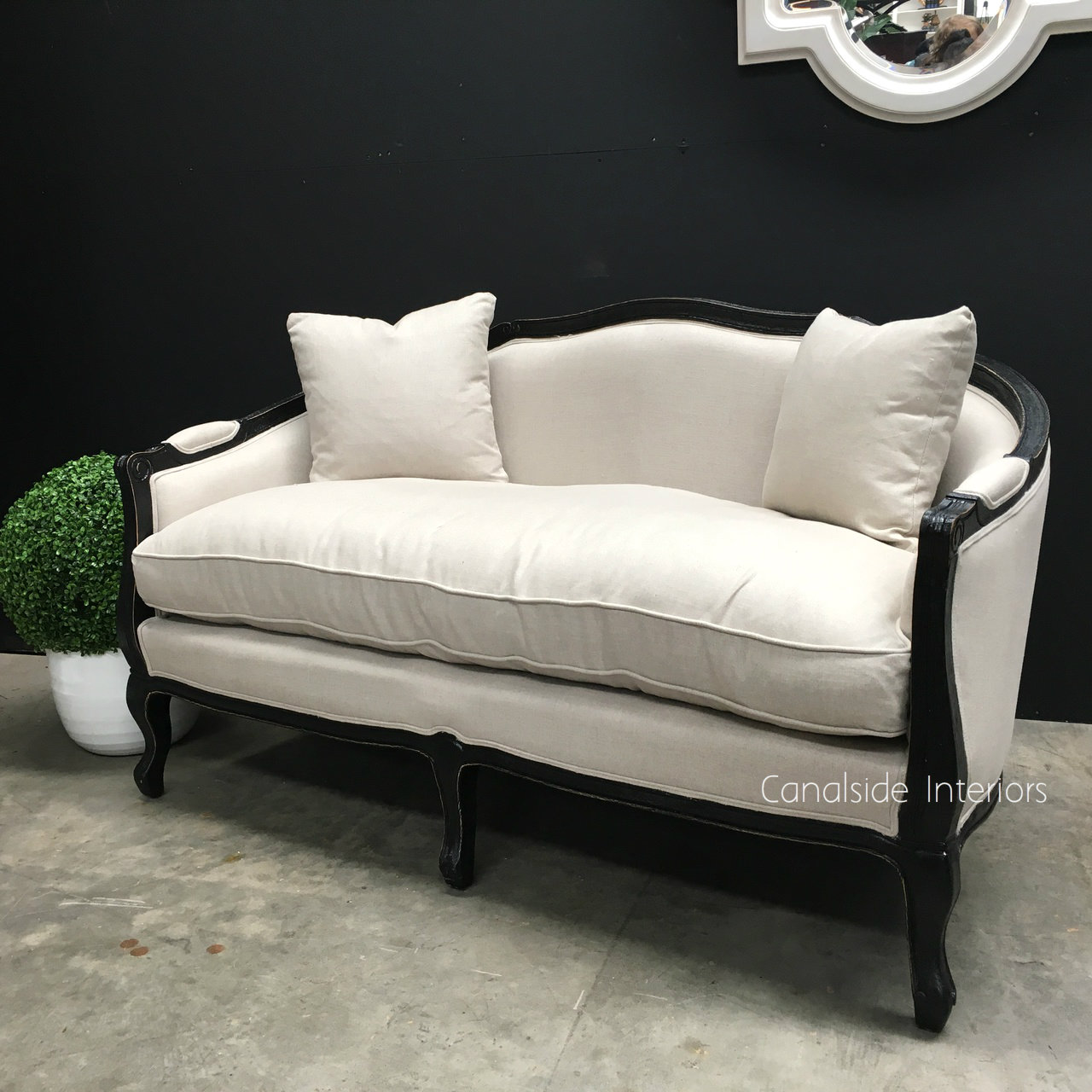 Arya 2.5 Seater Canape Sofa Distressed Black with cream upholstery  FRENCH  FURNITURE, CHAIRS, HAMPTONS Style, PLANTATION Style, CHAIRS Lounge, LIVING Room, LIVING Chairs
