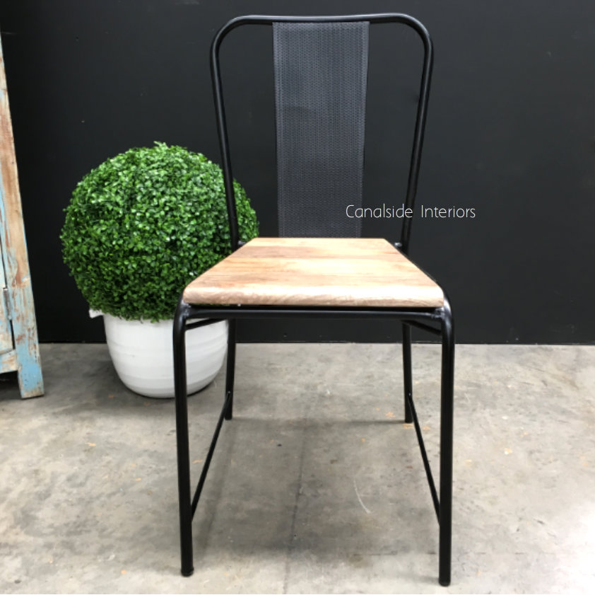 Arrow Industrial Mesh Dining Chair with wooden seat Distressed Black