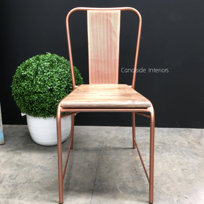 Arrow Industrial Mesh Chair with wooden seat
