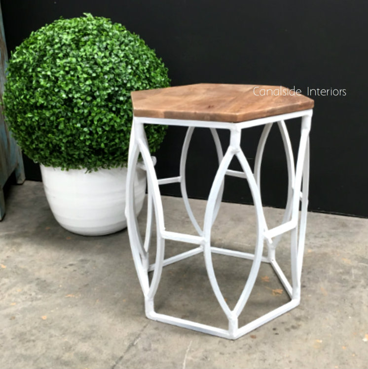 Braxton Side Table Stool Distressed White  INDUSTRIAL RUSTIC Style, CHAIRS, CAFE FURNITURE, TABLES, HAMPTONS Style, PLANTATION Style, CHAIRS Stools, TABLES Side Tables, LIVING Room, LIVING Coffee & Side Tables, CAFE FURNITURE Table Tops & Tables, CAFE FURNITURE Stools & Chairs