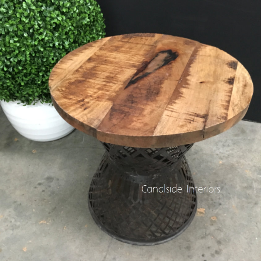 Cagey Side Table  INDUSTRIAL RUSTIC Style, CAFE FURNITURE, TABLES, TABLES Side Tables, CAFE FURNITURE Table Tops & Tables