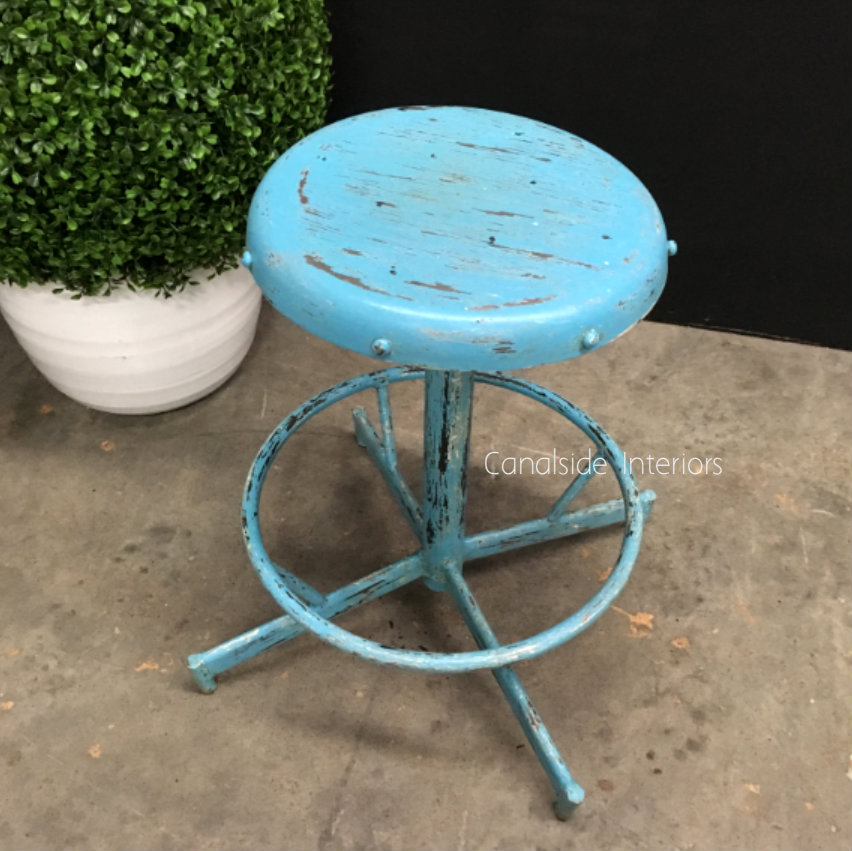 Bubblegum Industrial Low Stool
