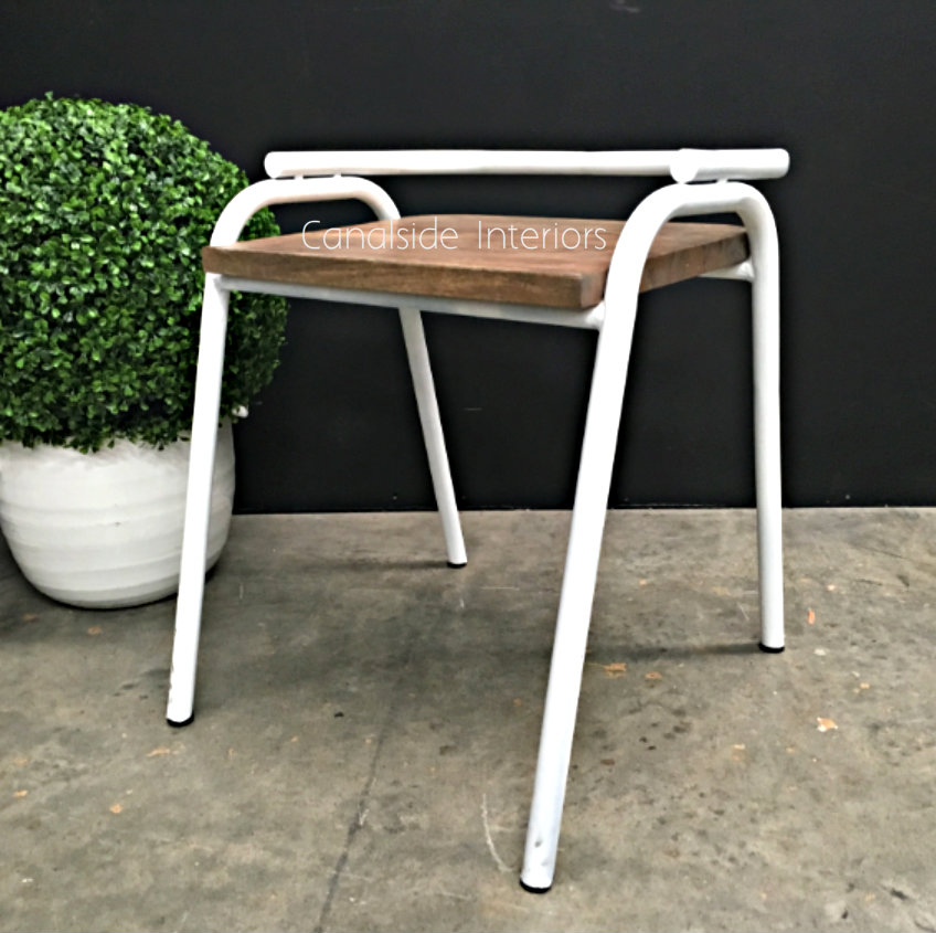 Chairlette Distressed White  INDUSTRIAL RUSTIC Style, CHAIRS, CAFE FURNITURE, CHAIRS Dining, CHAIRS Stools, CAFE FURNITURE Stools & Chairs