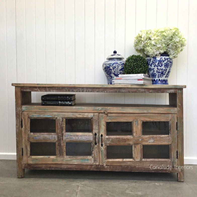 Adrift Rustic Coastal Tv Unit Sideboard With Glass Doors Sold Out