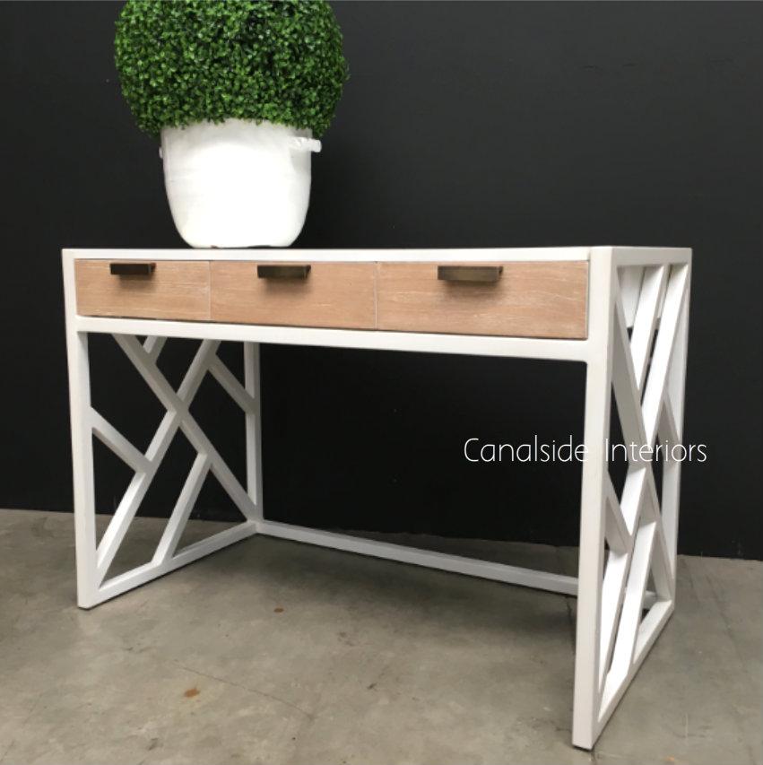 Botanique Desk Distressed White with Limewash Drawers  TABLES, STORAGE Consoles & Desks, BEDROOM Bedsides, PLANTATION STYLE