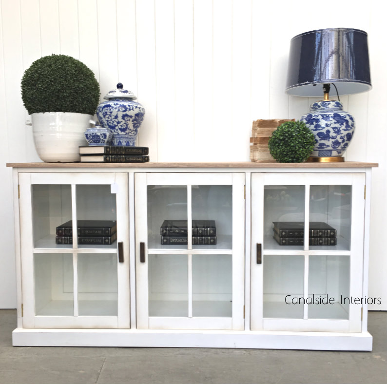 timeless design e0036 bad87 South Hamptons Glass Door Sideboard - Distressed White with Limewash Top -  Sold Out