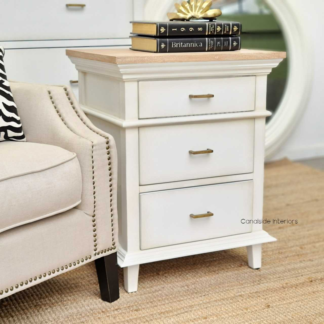 Berry II Court Bedside Distressed WhiteLimewash Top  BEDROOM, HAMPTONS Style, PLANTATION Style, TABLES Side Tables, LIVING Coffee & Side Tables, BEDROOM Bedsides