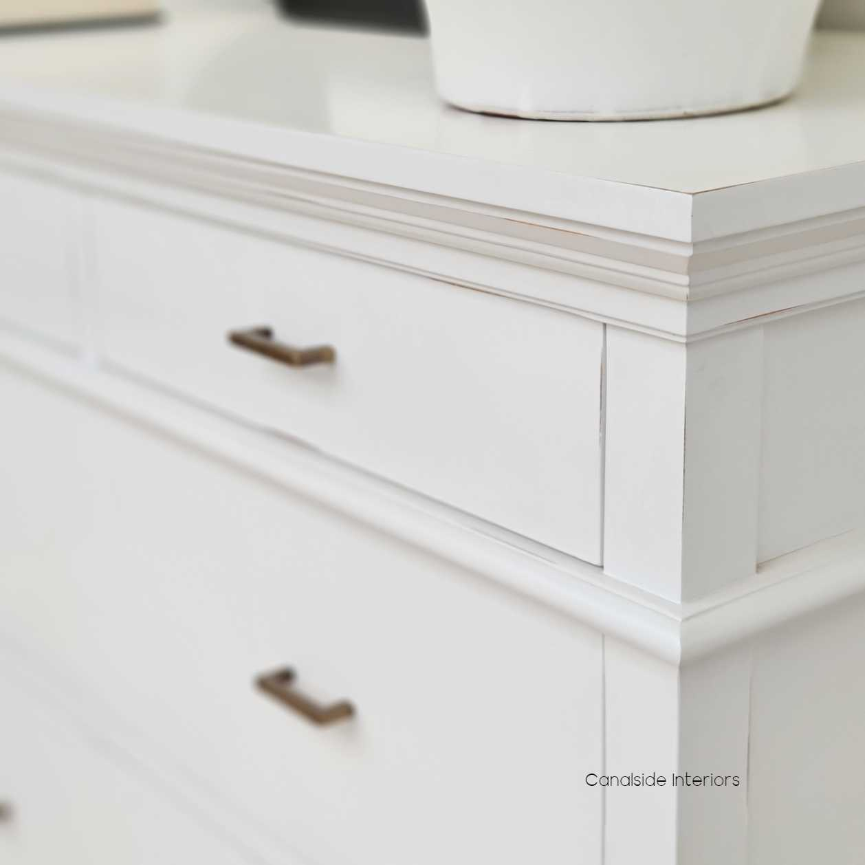 Berry II Court 5 Drawer Chest Distressed White  BEDROOM, HAMPTONS Style, PLANTATION Style, BEDROOM Chests & Commodes, TABLES Sideboards & Buffets, STORAGE, STORAGE Sideboards & Buffets