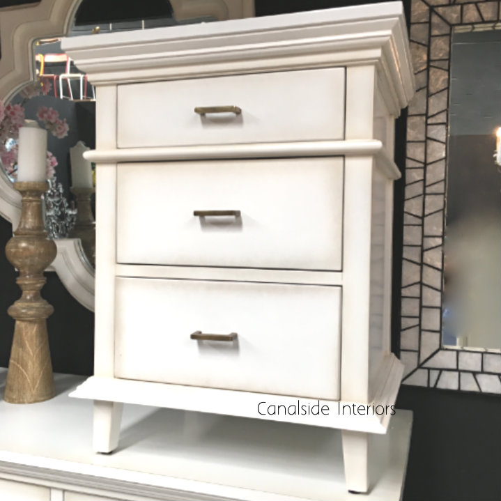 Berry II Court Bedside Distressed White  BEDROOM, HAMPTONS Style, PLANTATION Style, TABLES Side Tables, LIVING Coffee & Side Tables, BEDROOM Bedsides