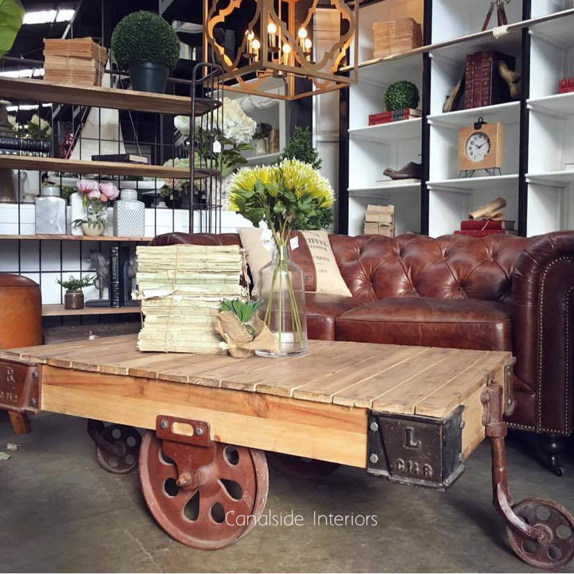 Cartage Industrial Coffee Table on Castors Rust  INDUSTRIAL RUSTIC Style, CAFE FURNITURE, TABLES, TABLES Coffee Tables, LIVING Room, LIVING Coffee & Side Tables, CAFE FURNITURE Table Tops & Tables