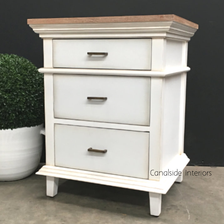 PACKAGE DEAL Berry II Court 5 Drw Chest 2x Bedsides Distr WhiteLimewash Top BEDROOM, BEDROOM Bedsides, BEDROOM Chests & Commodes