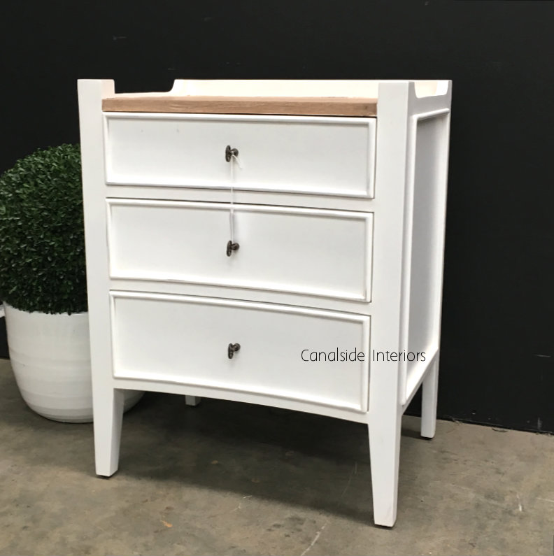 Arc Bedside Distressed White with Limewash Top