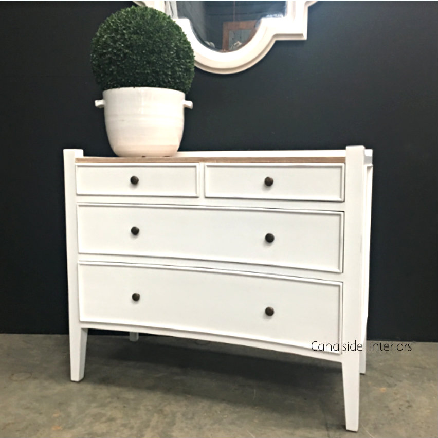 Arc 4 Drawer Chest Distressed White with Limewash Top BEDROOM, BEDROOM Chests & Commodes