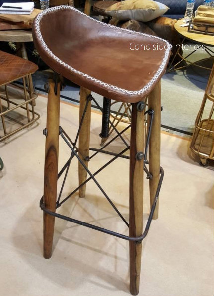 Hendricks Aged Leather Bar Stool  INDUSTRIAL RUSTIC Style, CHAIRS, CAFE FURNITURE, CHAIRS Stools, CAFE FURNITURE Stools & Chairs