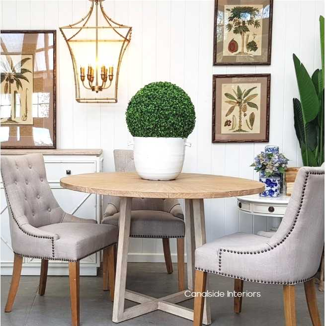 Downing Round Dining Table with Mosaic Top  TABLES, HAMPTONS Style, PLANTATION Style, TABLES Dining Tables